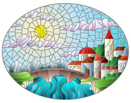 Illustration in stained glass style with the old town and bridge over a river with mountains in the background, the cloudy sky and sun, oval image