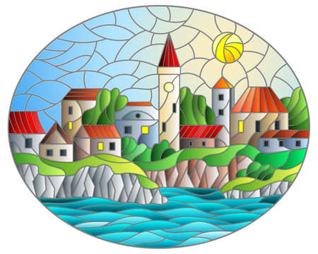 Illustration in stained glass style with river and city on the background of the daytime sky and the sun, oval image