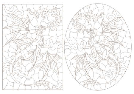 Set of contour illustrations in stained glass style with flying dragons on the background of cloudy sky, dark contours on a white background