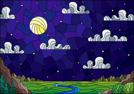 Illustration in stained glass style with the meandering river on a background of mountains, forests starry sky and moon