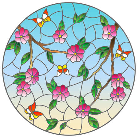 Illustration in stained glass style with intertwined branches of cherry blossoms and butterflies against the sky, round image Vettoriali