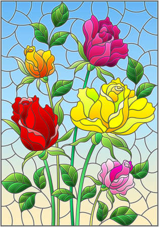 Illustration in stained glass style with a bouquet of roses on a blue background