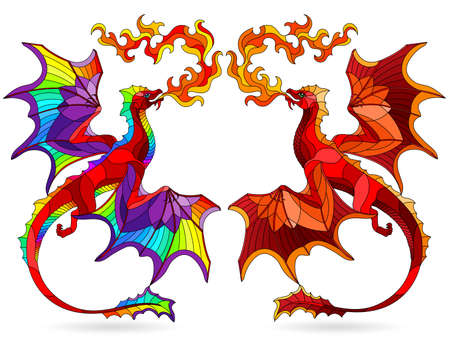 Set of stained glass elements with bright winged dragons, isolates on white background