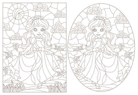 Set of contour illustrations of stained glass with princesses on a background of flowers, dark contours on a white background Illustration