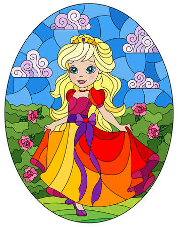Illustration in stained glass style with a cute Princess on a background of flowers and Sunny sky, oval image