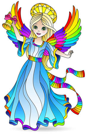 Illustration in stained glass style with a girl of angels in a blue dress, isolated element on a white background