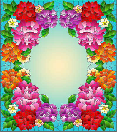 Illustration in a stained glass style with intertwined branches of bright roses isolated on a white background Vettoriali