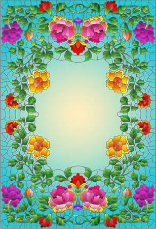 Illustration in a stained glass style with intertwined branches of bright roses isolated on a white background