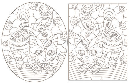 Set of outline illustrations in the style of stained glass with abstract cats, dark outlines on white background