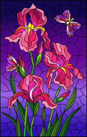Illustration in stained glass style with a bouquet of pink irises and purple butterflies on a sky background