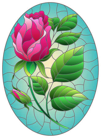 Illustration in stained glass style flower of pink rose on a purple background, oval image