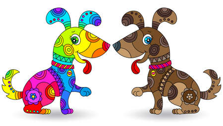 Set of stained glass elements with funny cartoon dogs, isolated images on white background Vettoriali