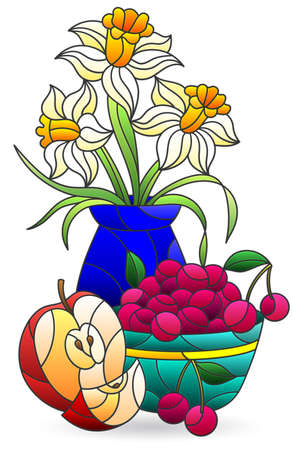 Illustration in stained glass style with still life, jug with flowers and fruit, isolated on a white background