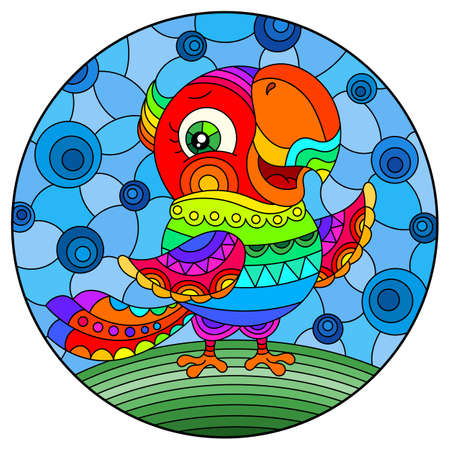 Illustration in stained glass style with abstract cute rainbow parakeet on a sky background