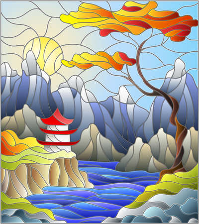 Illustration in stained glass style landscape, the tree on the background of a waterfall, mountains, sun and sky, autumn landscape Ilustración de vector