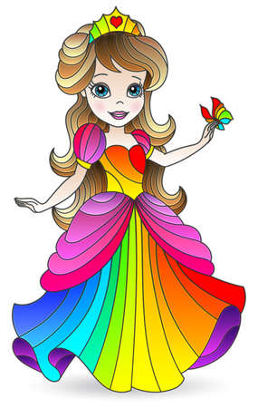 Illustration in stained glass style with a cute cartoon mermaid girl, figure isolated on a white background Vettoriali