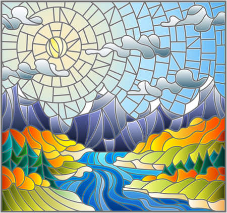 Illustration in stained glass style with the meandering river on a background of mountains, forests and Sunny sky, autumn landscape