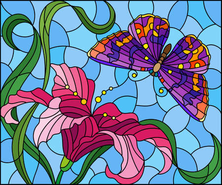 Set of illustrations in stained glass style with openwork snowflakes, isolated on a white background Vector Illustration