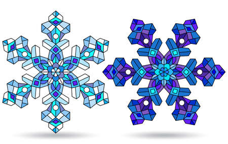 Set of illustrations in stained glass style with openwork snowflakes, isolated on a white background