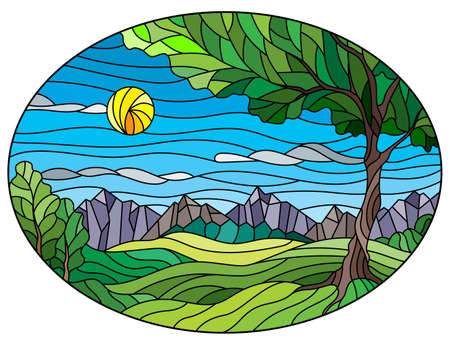 Set of contour illustrations of stained glass Windows with lilies and butterflies, dark outlines on a white background