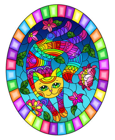 Illustration in stained glass style with a cute rainbow cat on a background of sky and bright flowers, oval image in bright frame