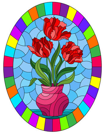 Illustration in stained glass style with a branch of flowers and bright rainbow bird Hummingbird on a blue background, round image in bright frame Çizim