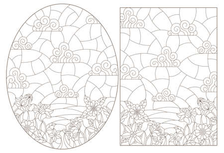 Illustration in stained glass style with abstract swirls and leaves on a light background, square orientation, sepia