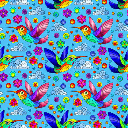 Seamless pattern with bright Hummingbird birds, clouds and flowers, bright birds on a blue background