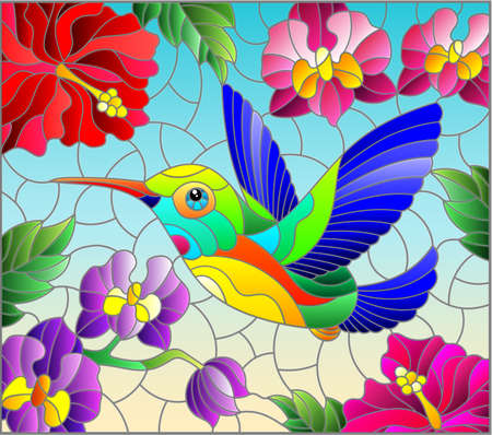 Illustration in stained glass style with a bright Hummingbird bird on the background of the sky and flowers of orchids and hibiscus