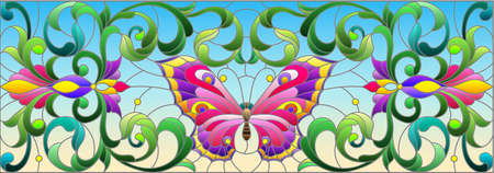 Illustration in stained glass style with a pink Lily flower and a bright butterfly on a blue sky background, rectangular image