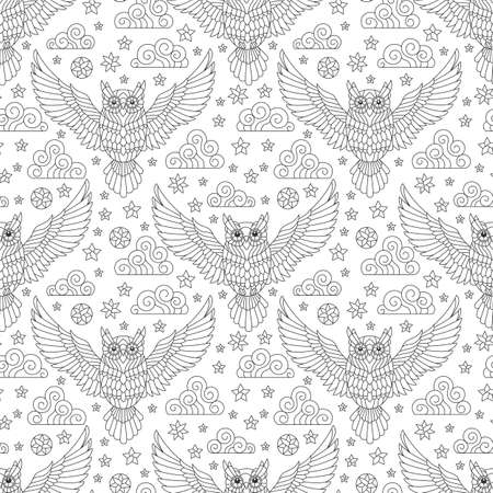 Seamless pattern with owls, stars and clouds, contour birds on a white background