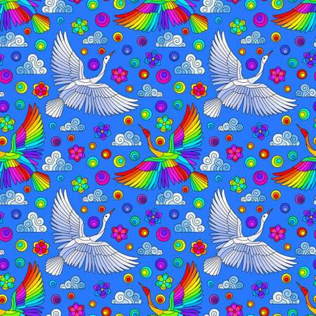 Seamless pattern with bright birds, clouds and flowers, bright birds on a blue background Illustration