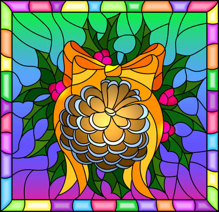 Illustration in stained glass style for New year and Christmas, pine cone, Holly branches and ribbons on a bright background in a bright frame Illustration