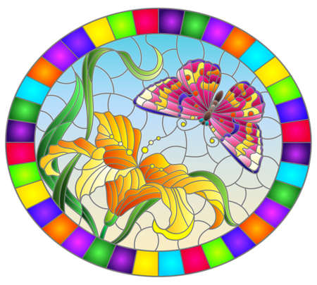 Illustration in stained glass style with a orange Lily flower and a bright pink butterfly on a blue sky background, ovql image in a bright frame