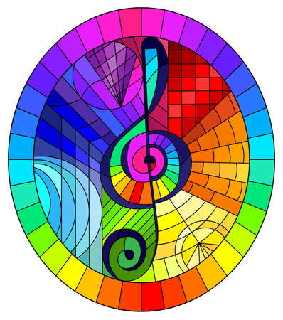 Illustration in stained glass style with a treble clef on an abstract rainbow background, oval image in a bright frame