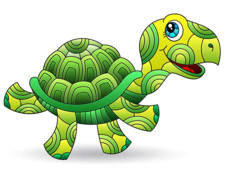 Illustration with a stained glass element, cute cartoon green turtle isolated on a white background Illustration
