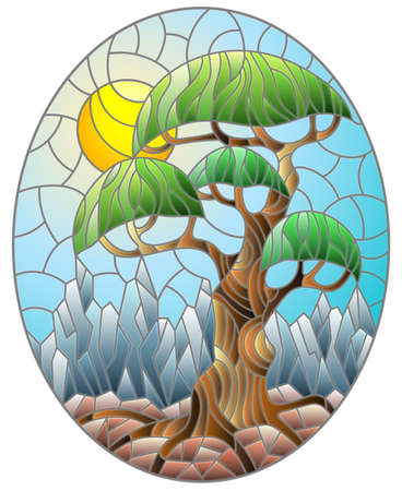 Stained glass illustration with a pair of dolphins on a Sunny sky and sea background, oval image Ilustração