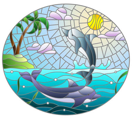 Stained glass illustration with a pair of dolphins on a Sunny sky and sea background, oval image 免版税图像 - 157743631