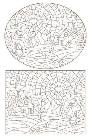 Set contour illustrations of stained glass Windows landscape, lonely house on a background of nature, dark outlines on a white background 免版税图像 - 157840385