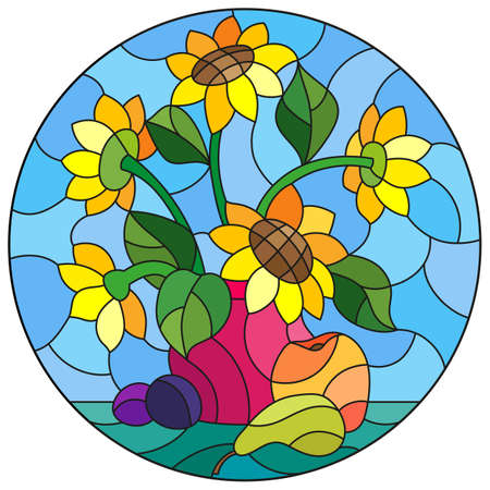 Illustration in stained glass style with abstract flowers, swirls and leaves on a light background, round image in frame, tone blue