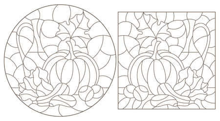 Illustration in stained glass style with abstract flowers, swirls and leaves on a light background, round image in frame, tone blue 免版税图像 - 157797456