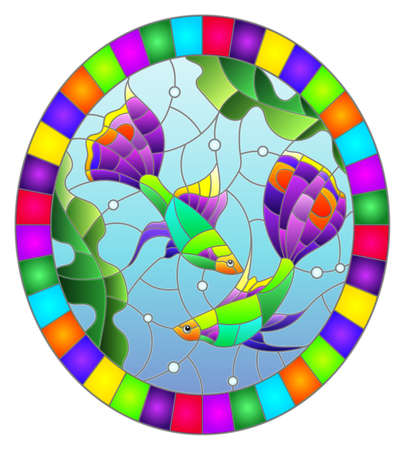 Illustration in stained glass style with abstract flowers, swirls and leaves on a light background, round image in frame, tone blue 免版税图像 - 157796533