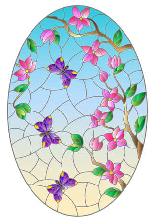 Illustration in stained glass style with abstract flowers, swirls and leaves on a light background, round image in frame, tone blue 免版税图像 - 157794824