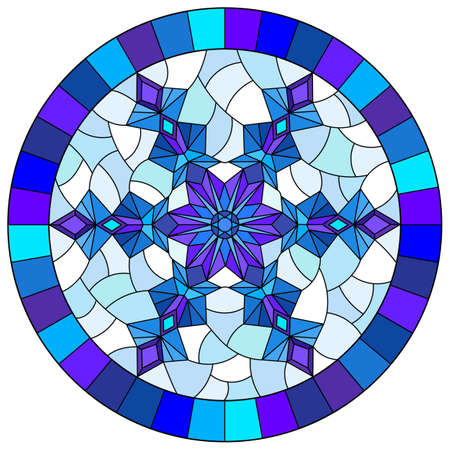 Set contour illustrations of stained glass with snowflakes in the framework, round image, dark outlines on a white background Stock Illustratie