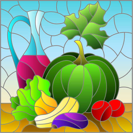 Stained glass illustration with still life, wine bottle and fruit basket, square image