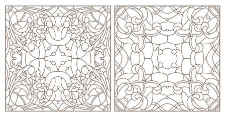 Set of contour stained glass illustrations with cedar cone on a branch, dark outlines on white background Ilustração