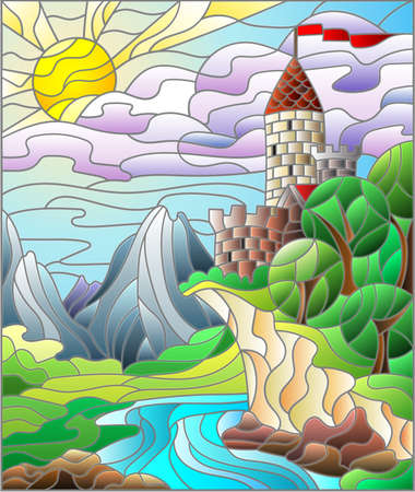 Contour illustration of stained glass of landscapes, dark outlines on a white background Illusztráció