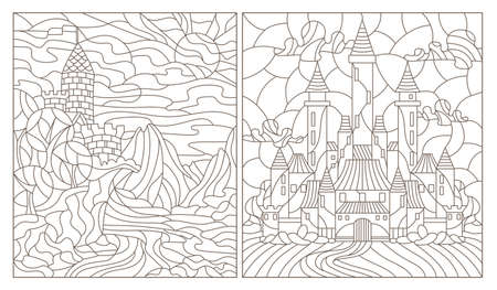 Set contour illustration of stained glass of landscapes with ancient castles, dark outlines on a white background Illusztráció
