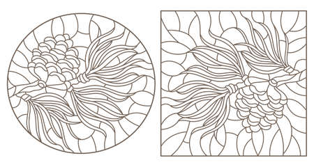 Set of contour stained glass illustrations with cedar cone on a branch, dark outlines on white background 矢量图像