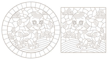 Set of outline illustrations in the style of stained glass with abstract dogs, dark outlines on white background